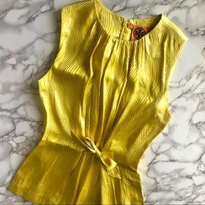 Tory Burch Elson Yellow Silk Tie Front Blouse